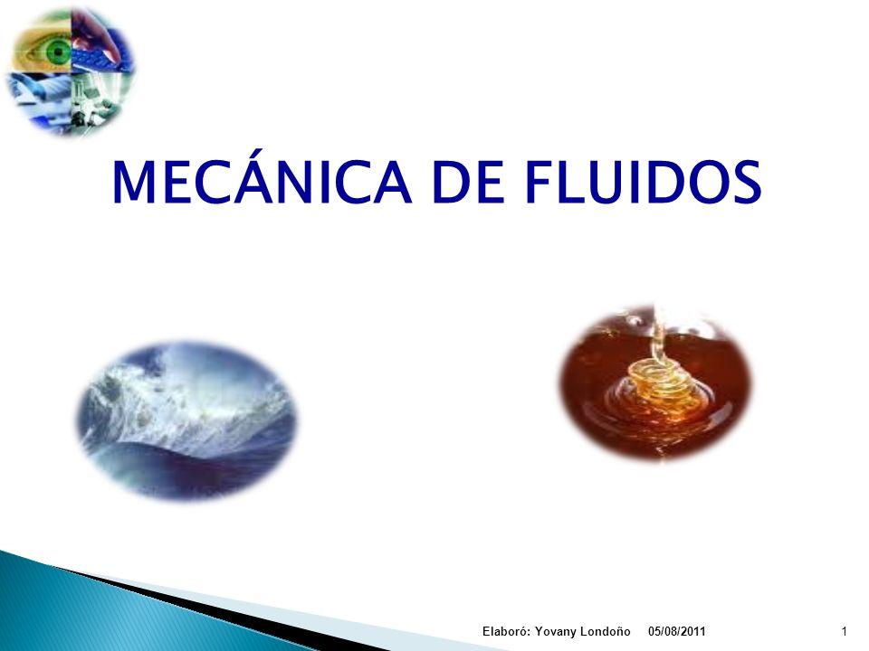 MECÁNICA DE FLUIDOS 05/08/2011Elaboró: Yovany Londoño1
