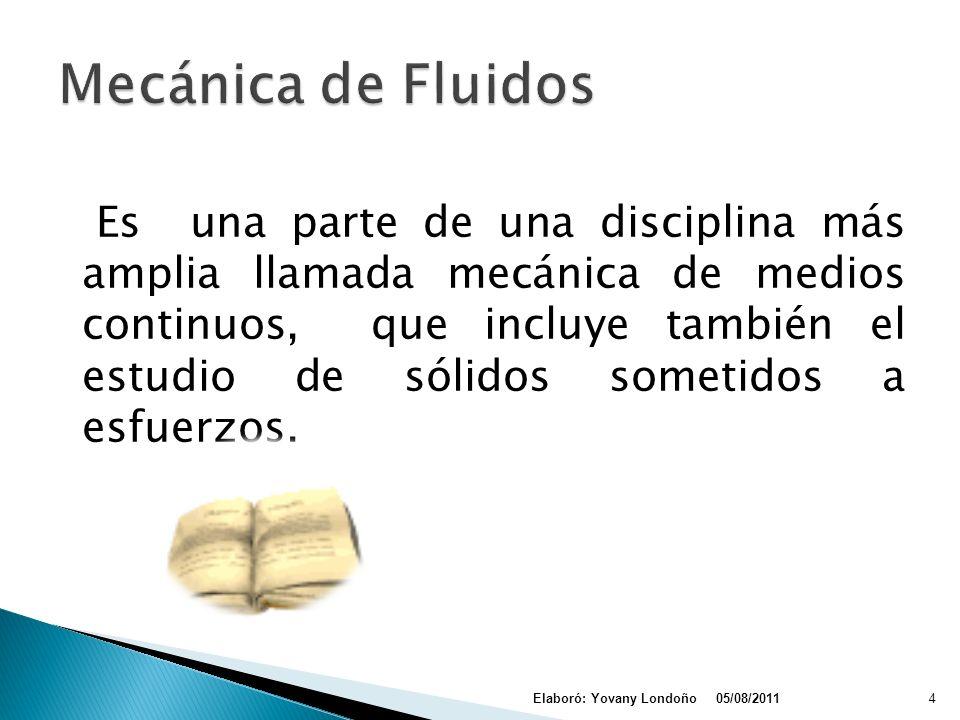 Hidrostática: estudia los fluidos en reposo Hidrodinámica: estudia los fluidos en movimiento 05/08/2011Elaboró: Yovany Londoño14