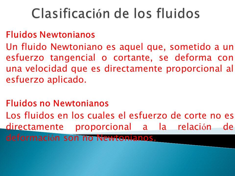 Fluidos Newtonianos Un fluido Newtoniano es aquel que, sometido a un esfuerzo tangencial o cortante, se deforma con una velocidad que es directamente proporcional al esfuerzo aplicado.