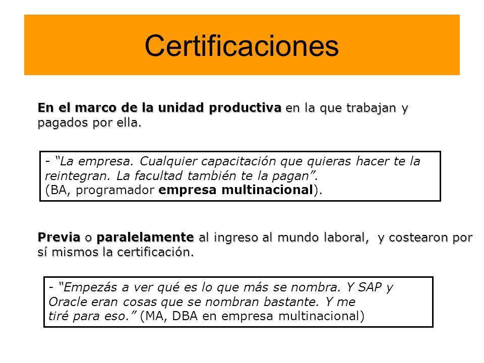 Certificaciones En el marco de la unidad productiva en la que trabajan y pagados por ella. Previa o paralelamente al ingreso al mundo laboral, y coste