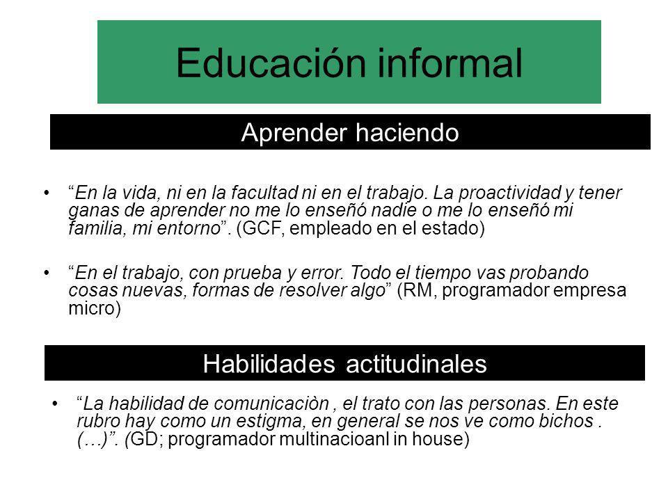 Educación informal Aprender haciendo En la vida, ni en la facultad ni en el trabajo. La proactividad y tener ganas de aprender no me lo enseñó nadie o