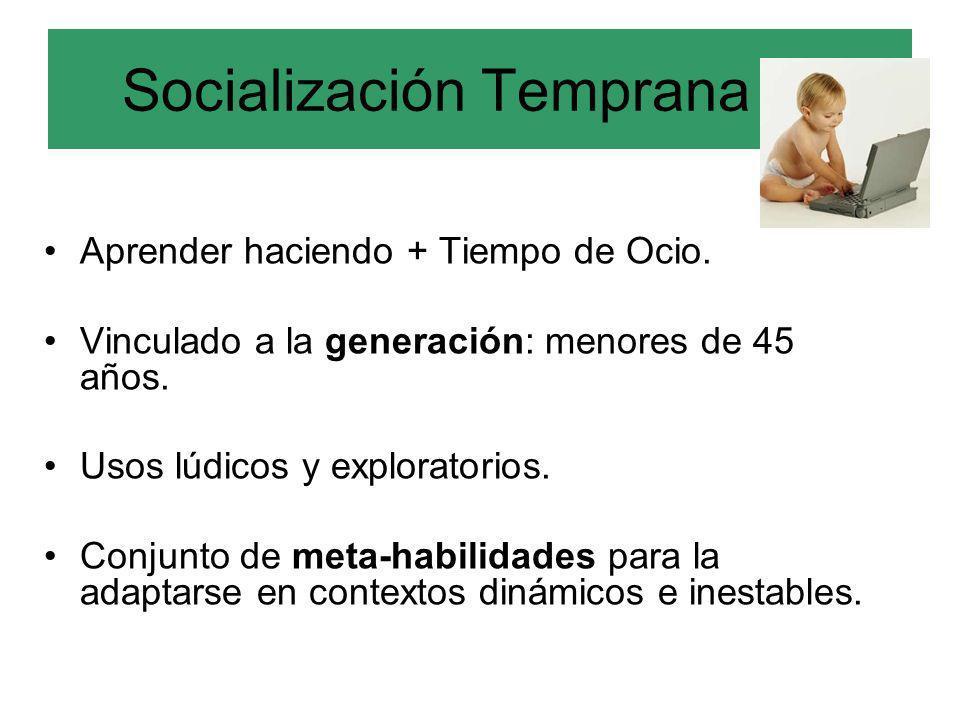 Socialización Temprana (a) Aprender haciendo + Tiempo de Ocio. Vinculado a la generación: menores de 45 años. Usos lúdicos y exploratorios. Conjunto d