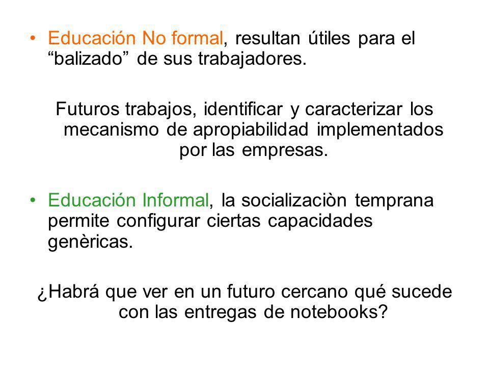 Educación No formal, resultan útiles para el balizado de sus trabajadores. Futuros trabajos, identificar y caracterizar los mecanismo de apropiabilida