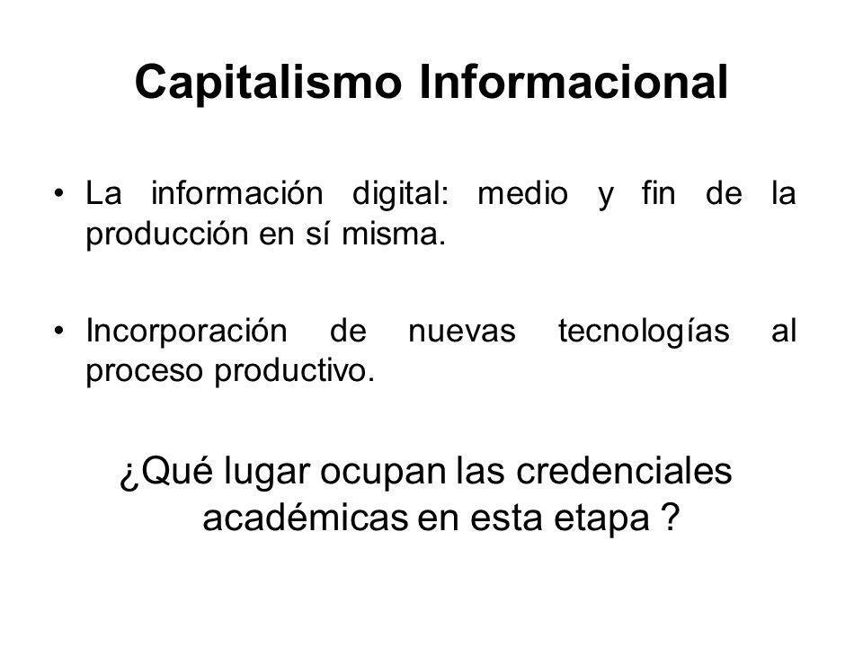 Capitalismo Informacional La información digital: medio y fin de la producción en sí misma. Incorporación de nuevas tecnologías al proceso productivo.