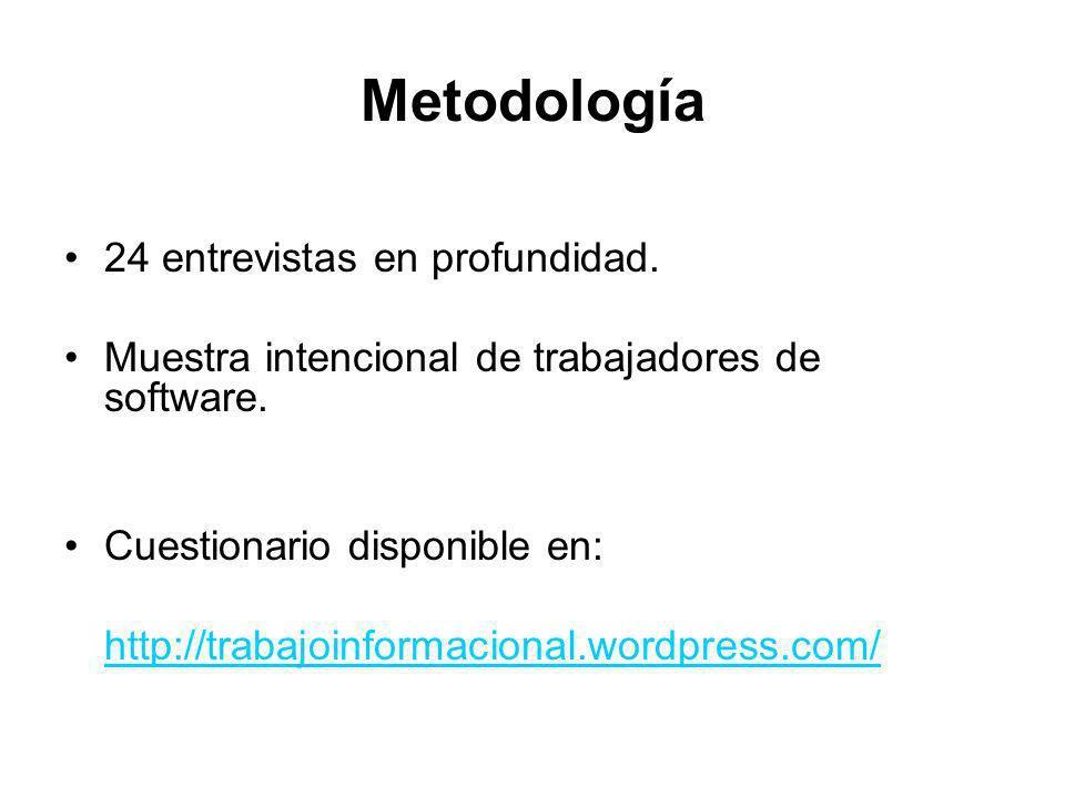 Metodología 24 entrevistas en profundidad. Muestra intencional de trabajadores de software. Cuestionario disponible en: http://trabajoinformacional.wo