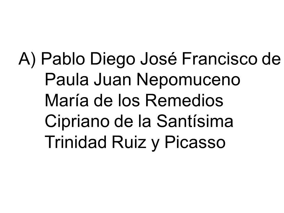 A) Pablo Diego José Francisco de Paula Juan Nepomuceno María de los Remedios Cipriano de la Santísima Trinidad Ruiz y Picasso