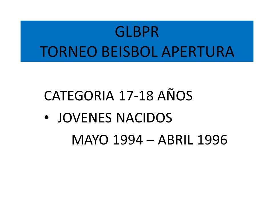 GLBPR TORNEO BEISBOL APERTURA CATEGORIA 17-18 AÑOS JOVENES NACIDOS MAYO 1994 – ABRIL 1996
