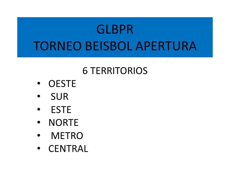 GLBPR TORNEO BEISBOL APERTURA 6 TERRITORIOS OESTE SUR ESTE NORTE METRO CENTRAL