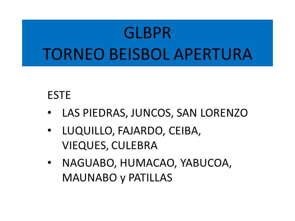 GLBPR TORNEO BEISBOL APERTURA ESTE LAS PIEDRAS, JUNCOS, SAN LORENZO LUQUILLO, FAJARDO, CEIBA, VIEQUES, CULEBRA NAGUABO, HUMACAO, YABUCOA, MAUNABO y PA