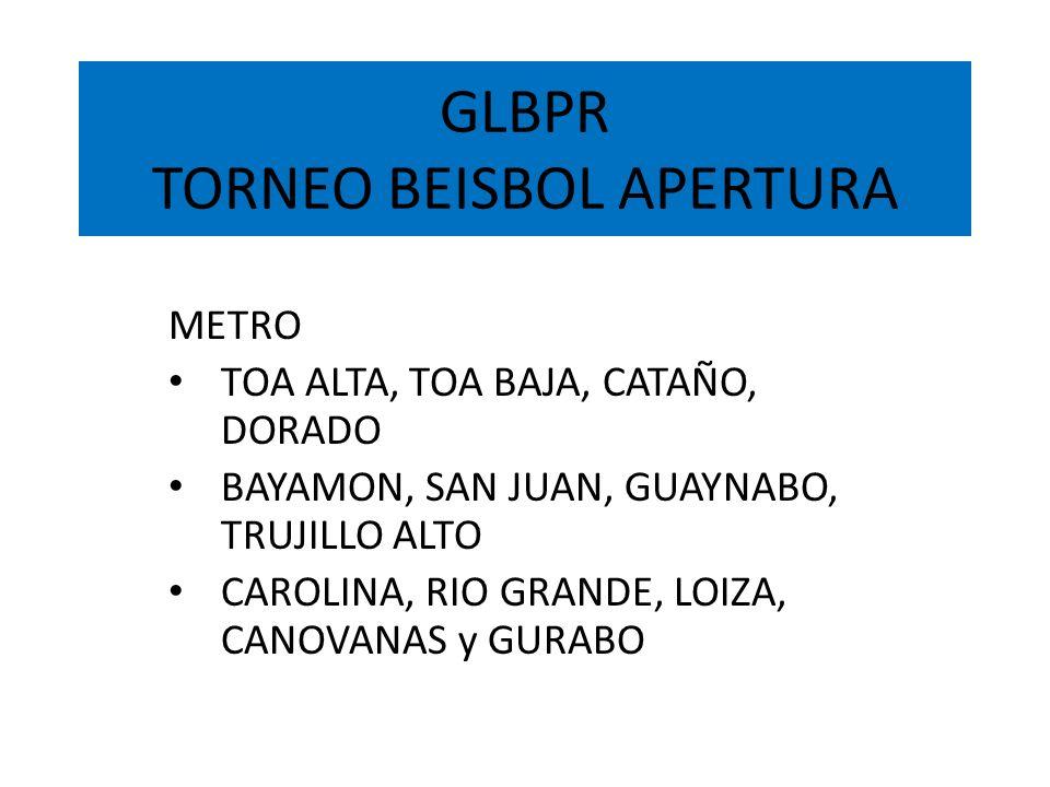 GLBPR TORNEO BEISBOL APERTURA METRO TOA ALTA, TOA BAJA, CATAÑO, DORADO BAYAMON, SAN JUAN, GUAYNABO, TRUJILLO ALTO CAROLINA, RIO GRANDE, LOIZA, CANOVAN