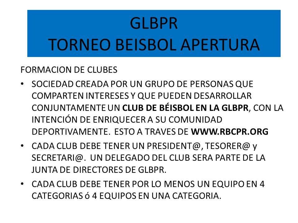 GLBPR TORNEO BEISBOL APERTURA FORMACION DE CLUBES SOCIEDAD CREADA POR UN GRUPO DE PERSONAS QUE COMPARTEN INTERESES Y QUE PUEDEN DESARROLLAR CONJUNTAME