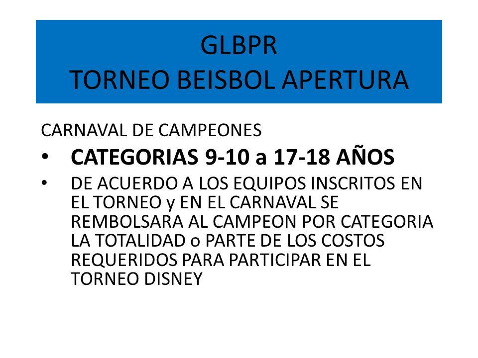 GLBPR TORNEO BEISBOL APERTURA CARNAVAL DE CAMPEONES CATEGORIAS 9-10 a 17-18 AÑOS DE ACUERDO A LOS EQUIPOS INSCRITOS EN EL TORNEO y EN EL CARNAVAL SE R