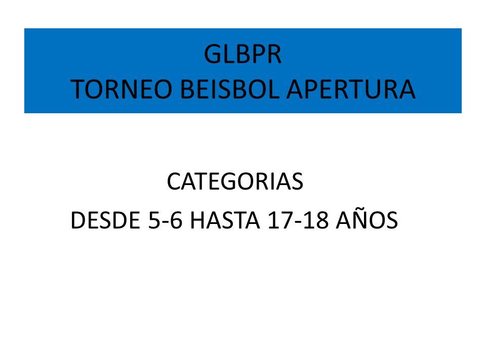 GLBPR TORNEO BEISBOL APERTURA ESTE LAS PIEDRAS, JUNCOS, SAN LORENZO LUQUILLO, FAJARDO, CEIBA, VIEQUES, CULEBRA NAGUABO, HUMACAO, YABUCOA, MAUNABO y PATILLAS