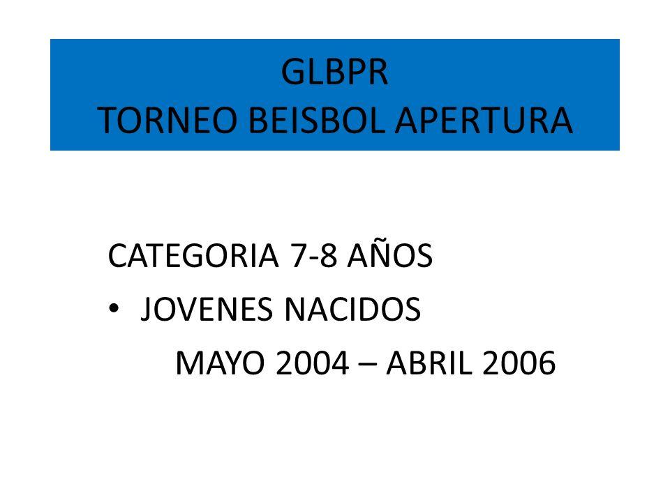 GLBPR TORNEO BEISBOL APERTURA METRO TOA ALTA, TOA BAJA, CATAÑO, DORADO BAYAMON, SAN JUAN, GUAYNABO, TRUJILLO ALTO CAROLINA, RIO GRANDE, LOIZA, CANOVANAS y GURABO