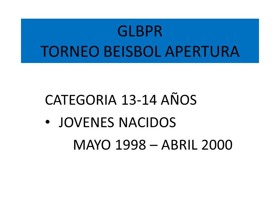 GLBPR TORNEO BEISBOL APERTURA CATEGORIA 13-14 AÑOS JOVENES NACIDOS MAYO 1998 – ABRIL 2000