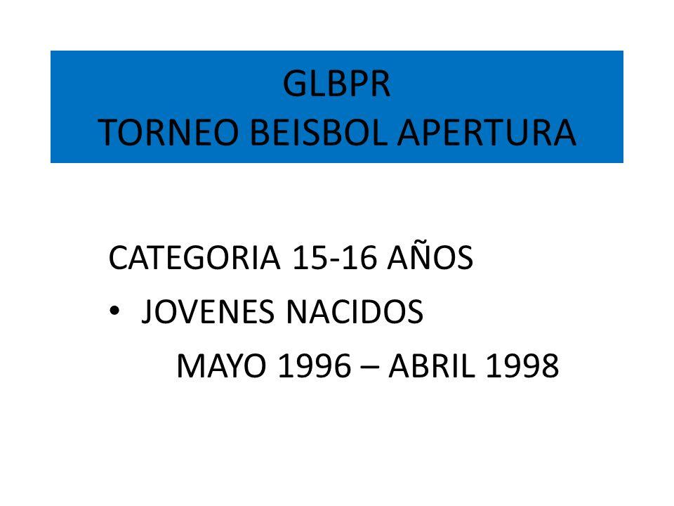 GLBPR TORNEO BEISBOL APERTURA FORMACION DE CLUBES SOCIEDAD CREADA POR UN GRUPO DE PERSONAS QUE COMPARTEN INTERESES Y QUE PUEDEN DESARROLLAR CONJUNTAMENTE UN CLUB DE BÉISBOL EN LA GLBPR, CON LA INTENCIÓN DE ENRIQUECER A SU COMUNIDAD DEPORTIVAMENTE.