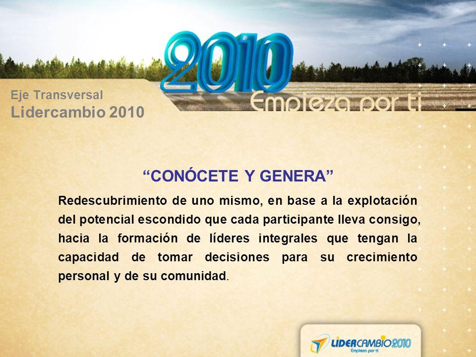 Eje Transversal Lidercambio 2010 CONÓCETE Y GENERA Redescubrimiento de uno mismo, en base a la explotación del potencial escondido que cada participan