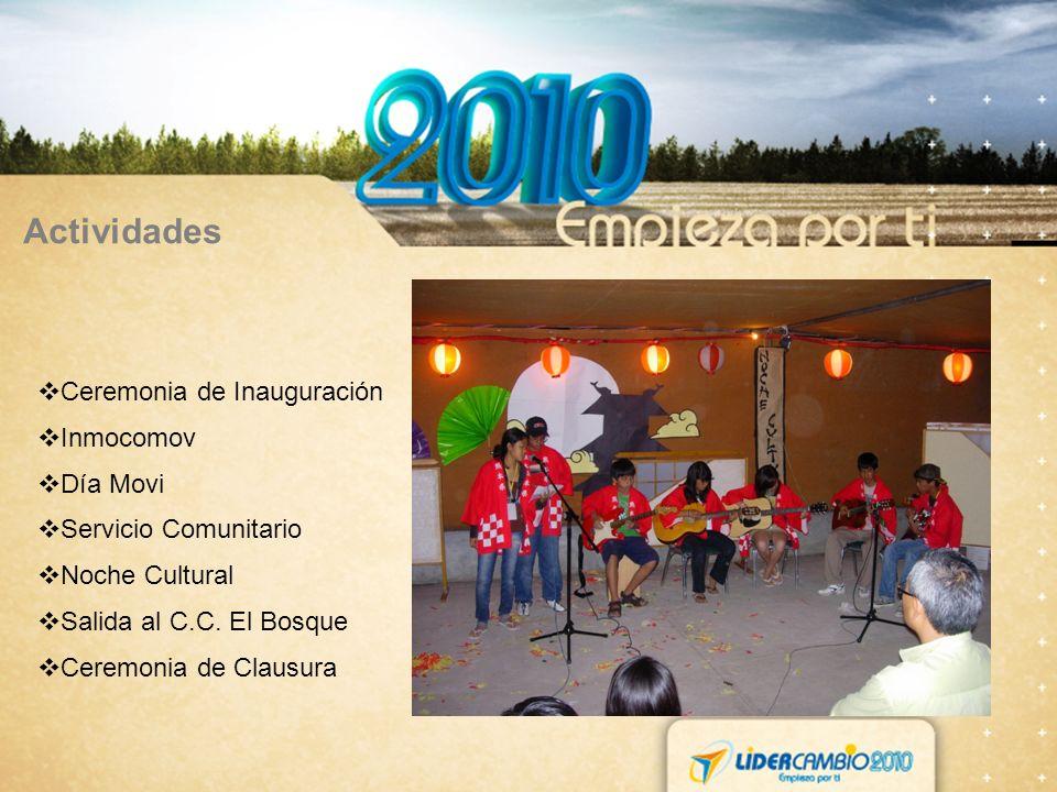 Actividades Ceremonia de Inauguración Inmocomov Día Movi Servicio Comunitario Noche Cultural Salida al C.C. El Bosque Ceremonia de Clausura
