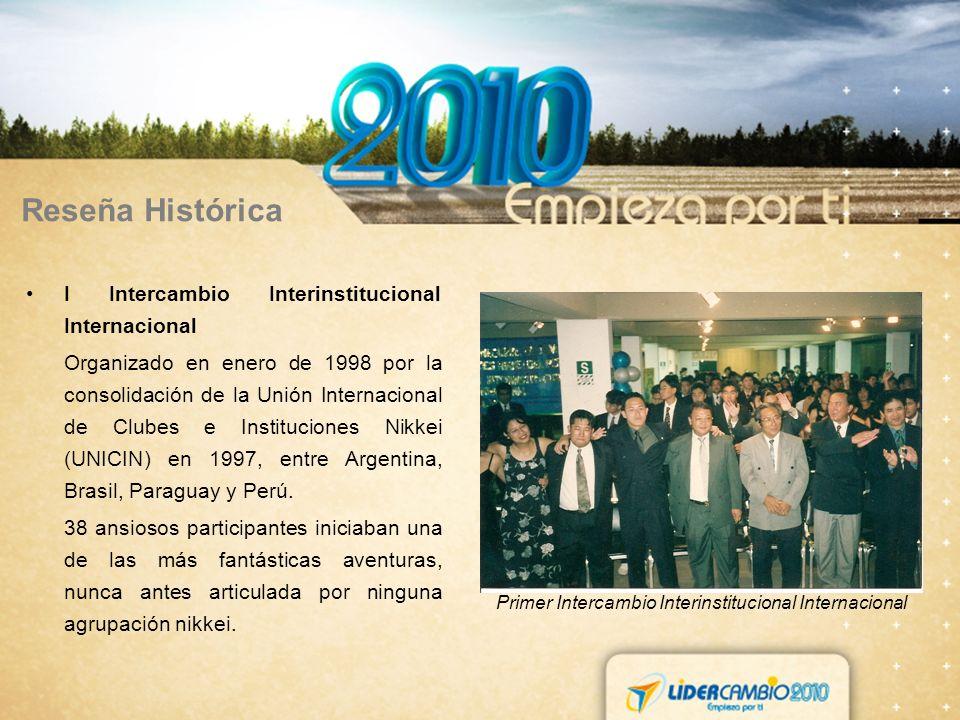 Reseña Histórica I Intercambio Interinstitucional Internacional Organizado en enero de 1998 por la consolidación de la Unión Internacional de Clubes e Instituciones Nikkei (UNICIN) en 1997, entre Argentina, Brasil, Paraguay y Perú.