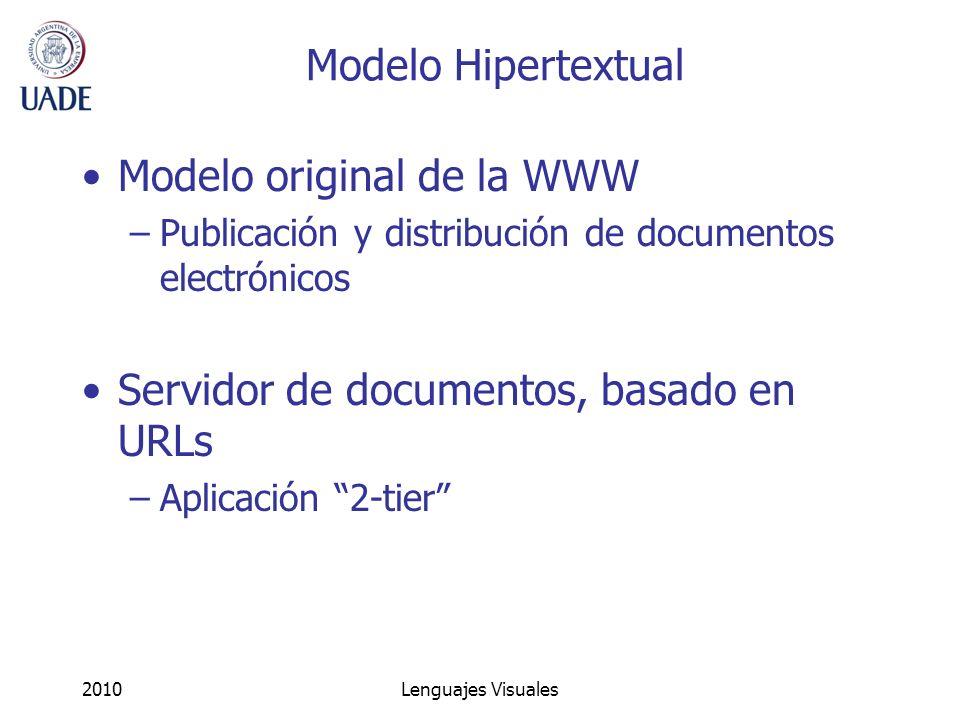 2010Lenguajes Visuales Modelo Hipertextual Modelo original de la WWW –Publicación y distribución de documentos electrónicos Servidor de documentos, ba