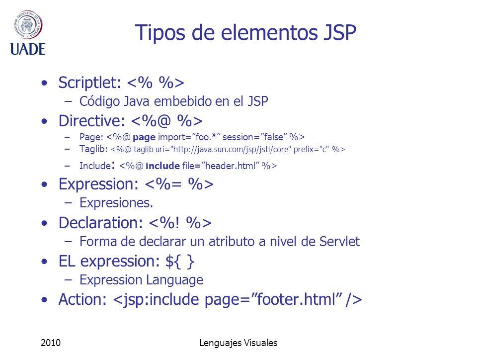 2010Lenguajes Visuales Tipos de elementos JSP Scriptlet: –Código Java embebido en el JSP Directive: –Page: –Taglib: –Include : Expression: –Expresione