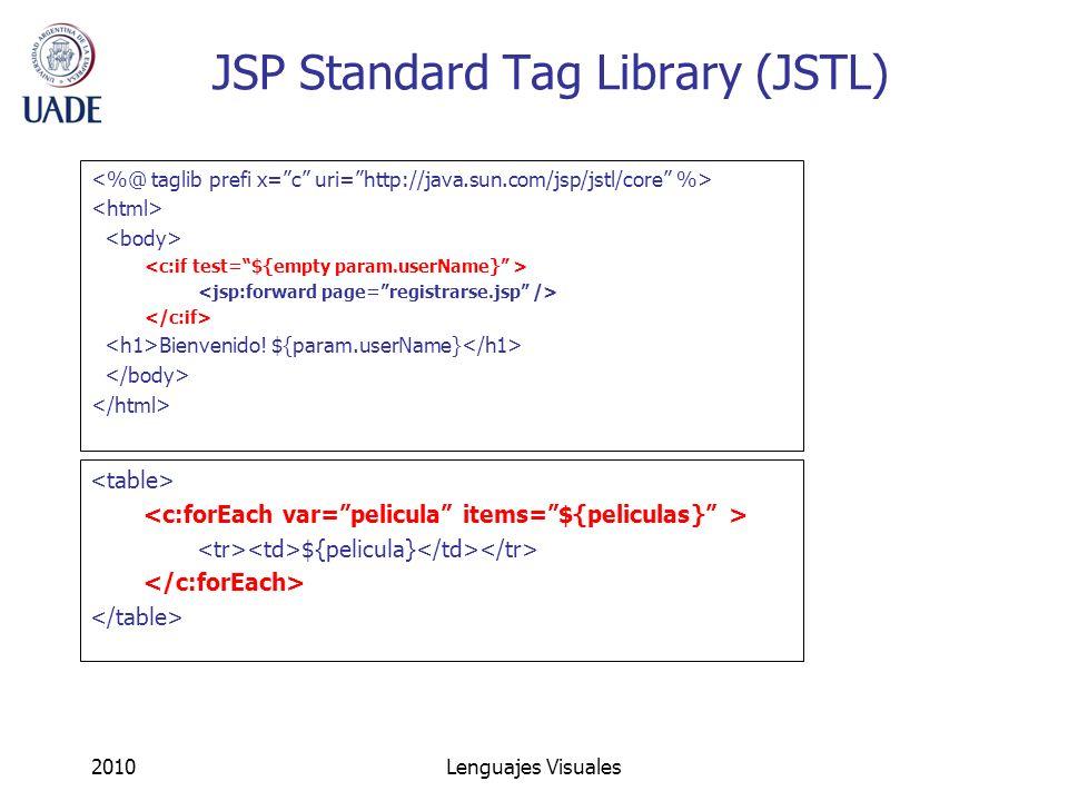 2010Lenguajes Visuales JSP Standard Tag Library (JSTL) Bienvenido! ${param.userName} ${pelicula}