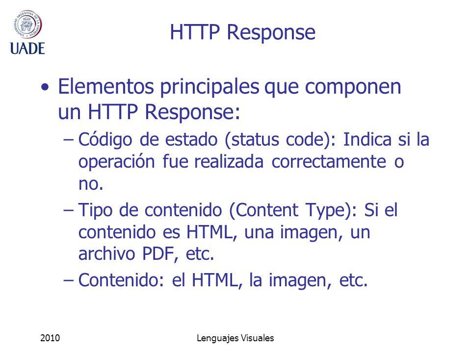 2010Lenguajes Visuales HTTP Response Elementos principales que componen un HTTP Response: –Código de estado (status code): Indica si la operación fue