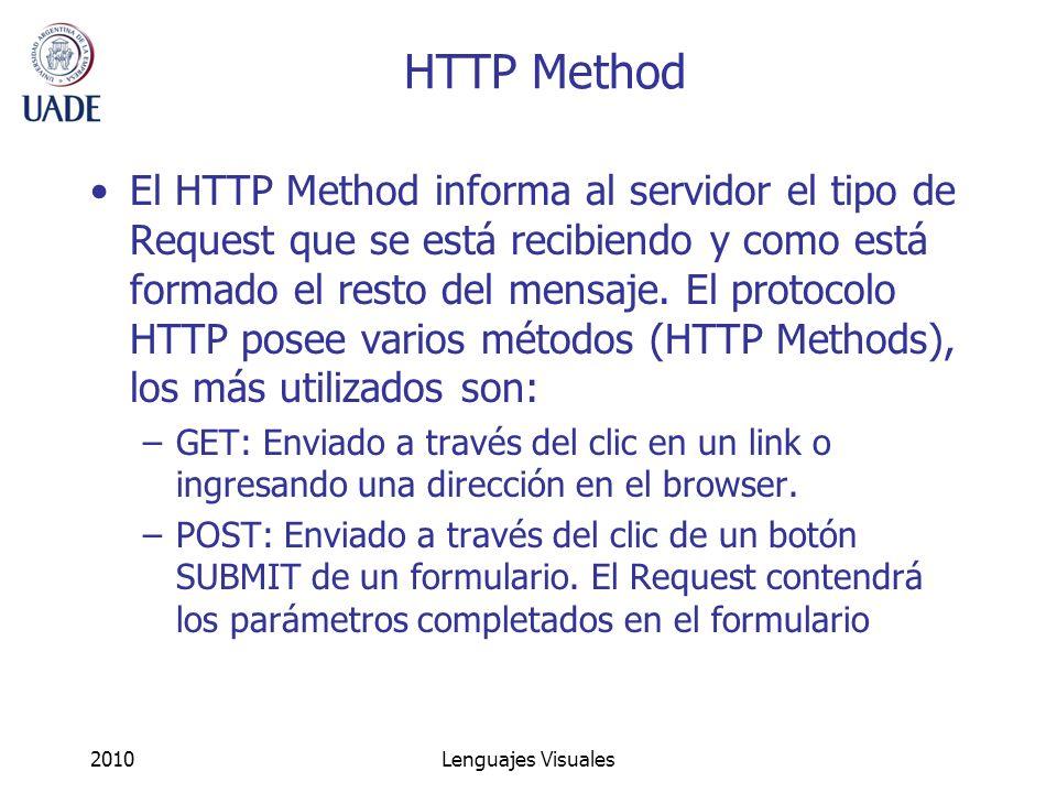 2010Lenguajes Visuales HTTP Method El HTTP Method informa al servidor el tipo de Request que se está recibiendo y como está formado el resto del mensa