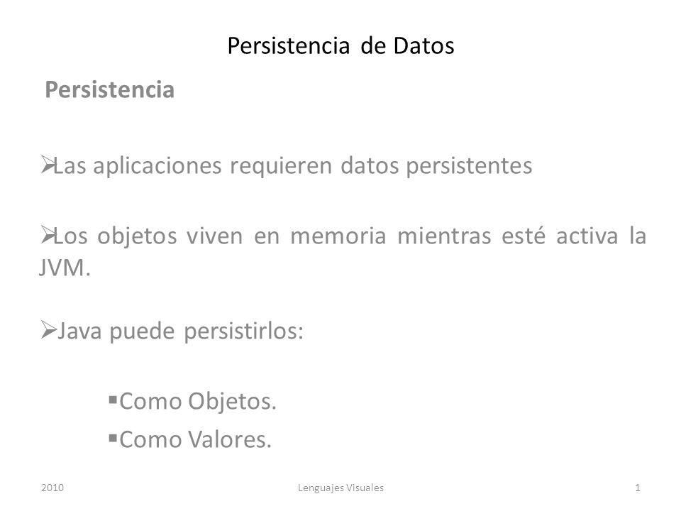 Persistencia de Datos Persistencia Las aplicaciones requieren datos persistentes Los objetos viven en memoria mientras esté activa la JVM. Java puede