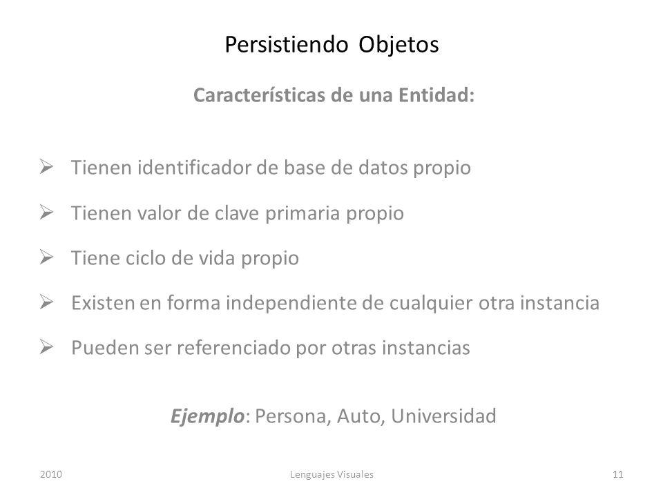 Persistiendo Objetos Características de una Entidad: Tienen identificador de base de datos propio Tienen valor de clave primaria propio Tiene ciclo de