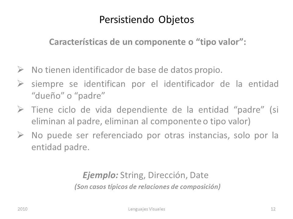 Persistiendo Objetos Características de un componente o tipo valor: No tienen identificador de base de datos propio. siempre se identifican por el ide