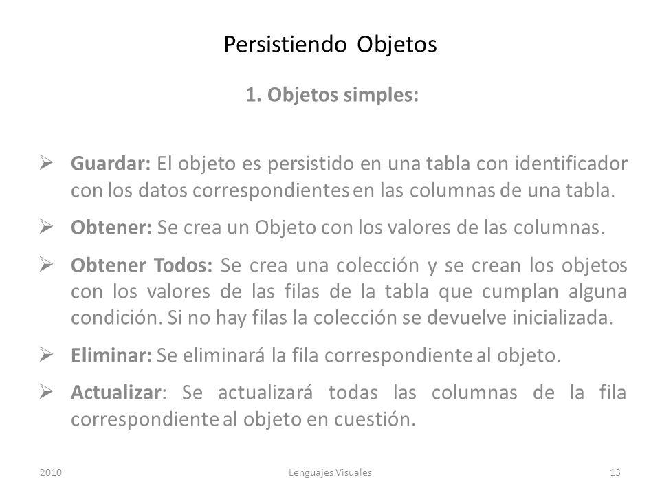 Persistiendo Objetos 1. Objetos simples: Guardar: El objeto es persistido en una tabla con identificador con los datos correspondientes en las columna