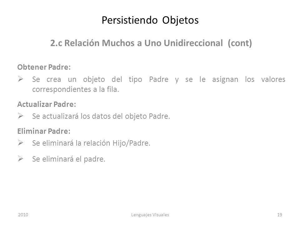 Persistiendo Objetos 2.c Relación Muchos a Uno Unidireccional (cont) Obtener Padre: Se crea un objeto del tipo Padre y se le asignan los valores corre