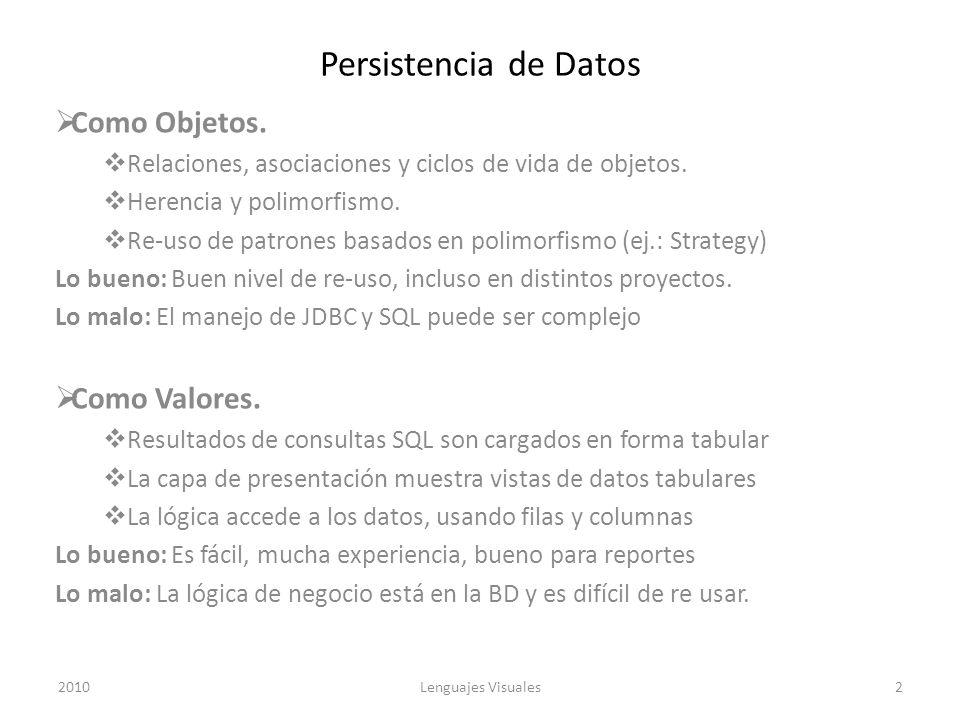 Persistencia de Datos Como Objetos. Relaciones, asociaciones y ciclos de vida de objetos. Herencia y polimorfismo. Re-uso de patrones basados en polim