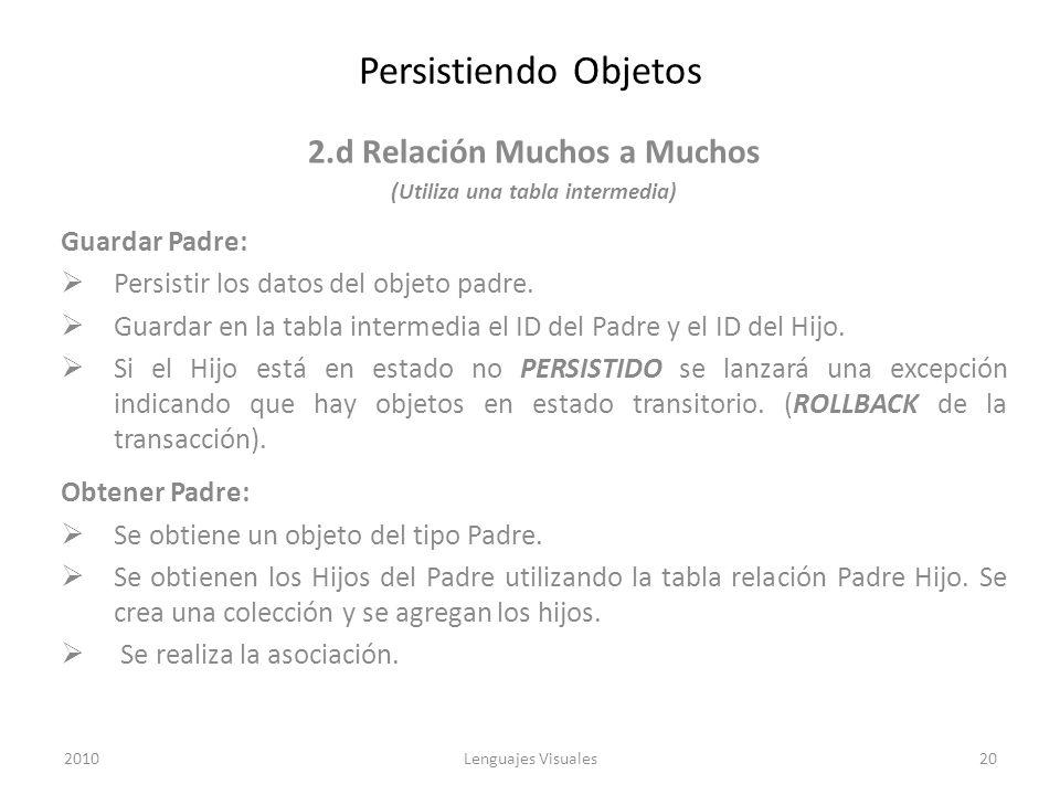 Persistiendo Objetos 2.d Relación Muchos a Muchos (Utiliza una tabla intermedia) Guardar Padre: Persistir los datos del objeto padre. Guardar en la ta