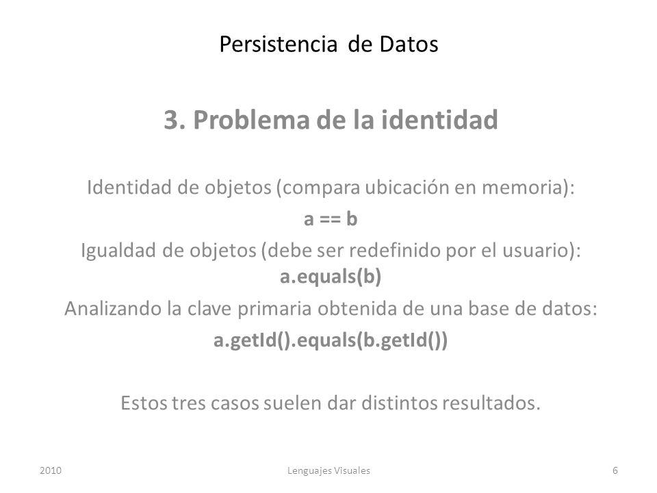 Persistencia de Datos 3. Problema de la identidad Identidad de objetos (compara ubicación en memoria): a == b Igualdad de objetos (debe ser redefinido
