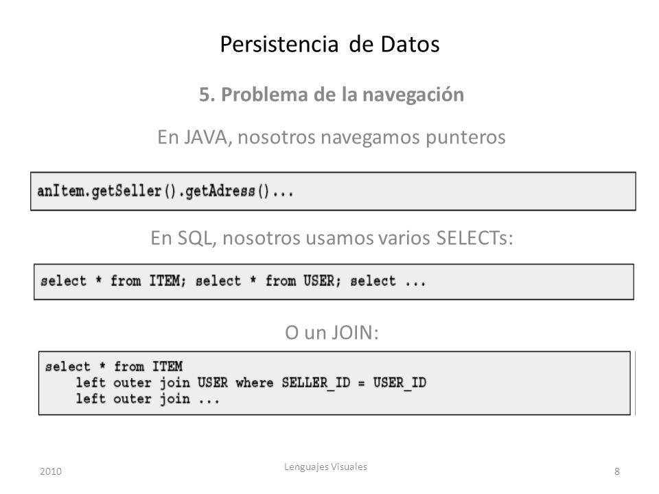 Persistencia de Datos 5. Problema de la navegación En JAVA, nosotros navegamos punteros En SQL, nosotros usamos varios SELECTs: O un JOIN: 20108 Lengu