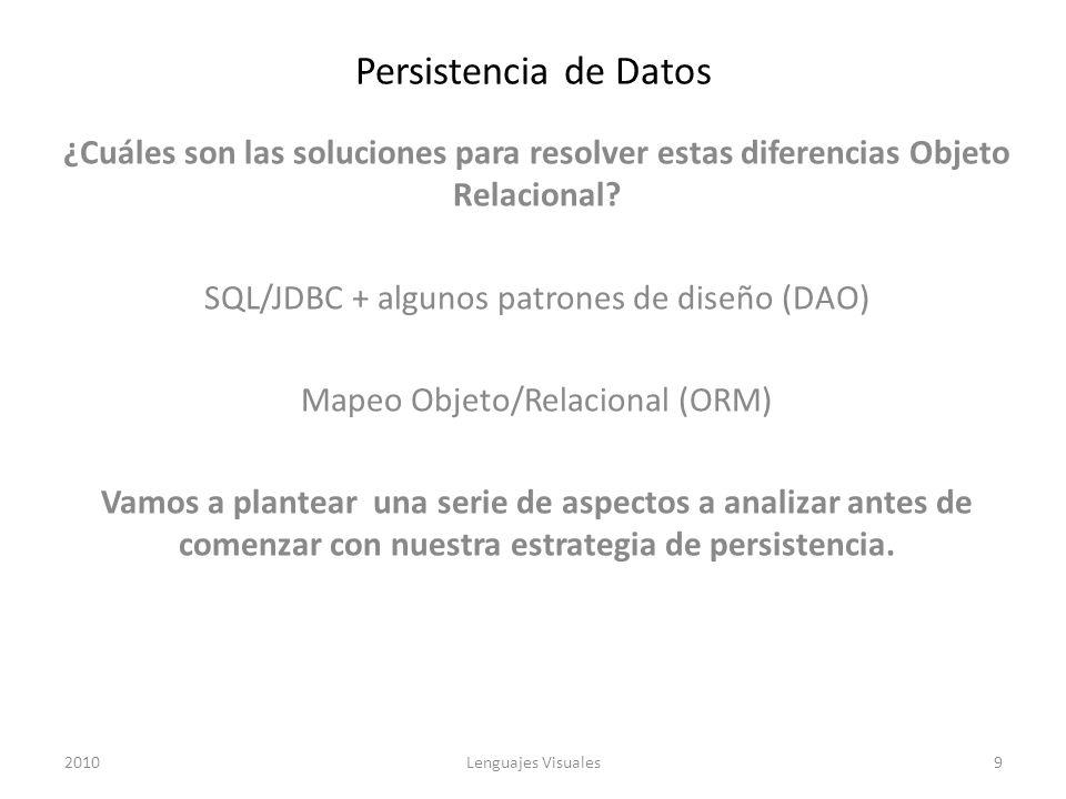 Persistencia de Datos ¿Cuáles son las soluciones para resolver estas diferencias Objeto Relacional? SQL/JDBC + algunos patrones de diseño (DAO) Mapeo