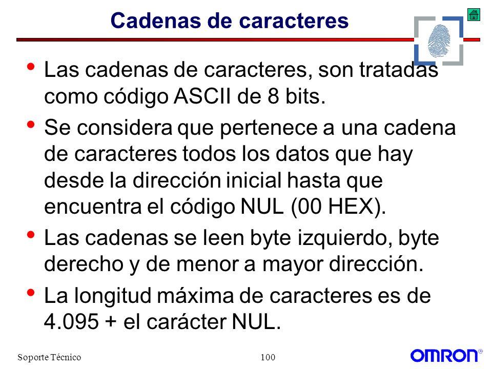 Soporte Técnico100 Cadenas de caracteres Las cadenas de caracteres, son tratadas como código ASCII de 8 bits. Se considera que pertenece a una cadena