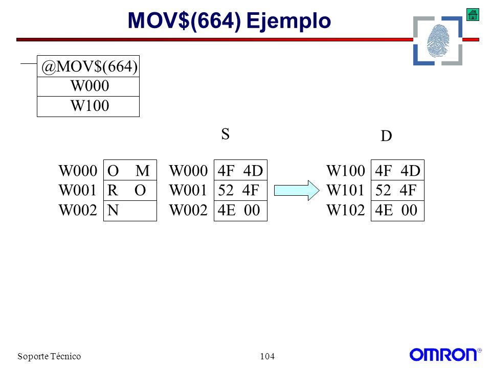 Soporte Técnico104 MOV$(664) Ejemplo W1004F 4D W10152 4F W1024E 00 W000O M W001R O W002N W0004F 4D W00152 4F W0024E 00 S D @MOV$(664) W000 W100