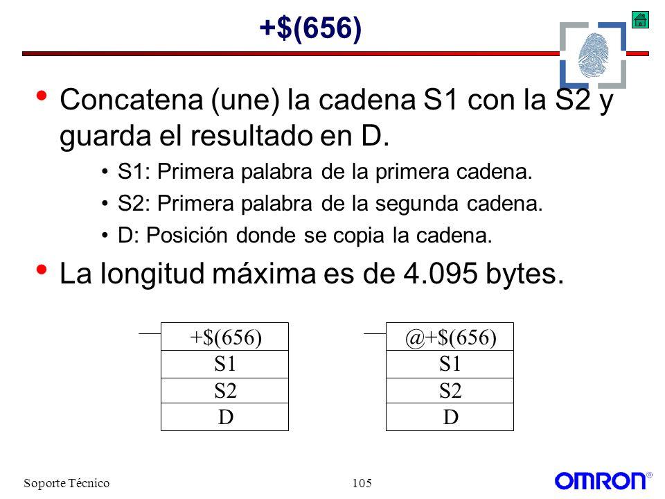 Soporte Técnico105 +$(656) Concatena (une) la cadena S1 con la S2 y guarda el resultado en D. S1: Primera palabra de la primera cadena. S2: Primera pa