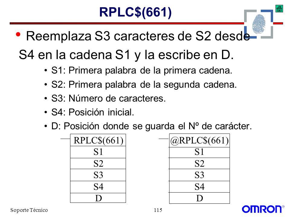 Soporte Técnico115 RPLC$(661) Reemplaza S3 caracteres de S2 desde S4 en la cadena S1 y la escribe en D. S1: Primera palabra de la primera cadena. S2: