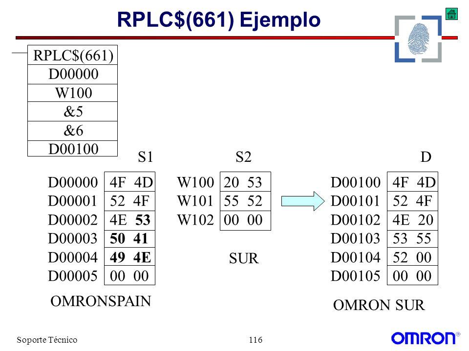 Soporte Técnico116 RPLC$(661) Ejemplo D00100 4F 4D D00101 52 4F D00102 4E 20 D00103 53 55 D00104 52 00 D00105 00 00 W10020 53 W10155 52 W10200 00 S2D