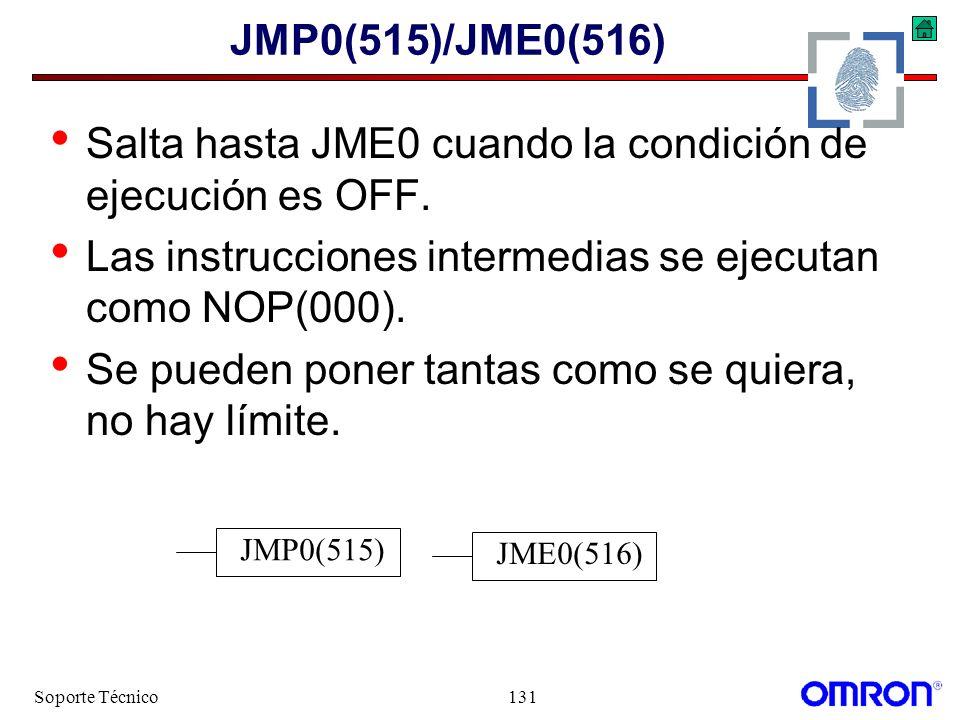 Soporte Técnico131 JMP0(515)/JME0(516) Salta hasta JME0 cuando la condición de ejecución es OFF. Las instrucciones intermedias se ejecutan como NOP(00