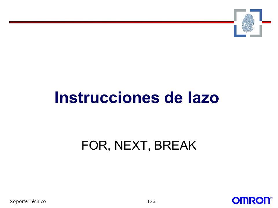 Soporte Técnico132 Instrucciones de lazo FOR, NEXT, BREAK
