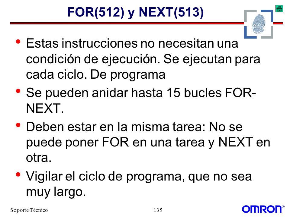 Soporte Técnico135 FOR(512) y NEXT(513) Estas instrucciones no necesitan una condición de ejecución. Se ejecutan para cada ciclo. De programa Se puede