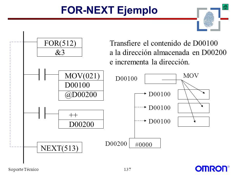 Soporte Técnico137 FOR-NEXT Ejemplo MOV(021) D00100 @D00200 FOR(512) &3 NEXT(513) Transfiere el contenido de D00100 a la dirección almacenada en D0020