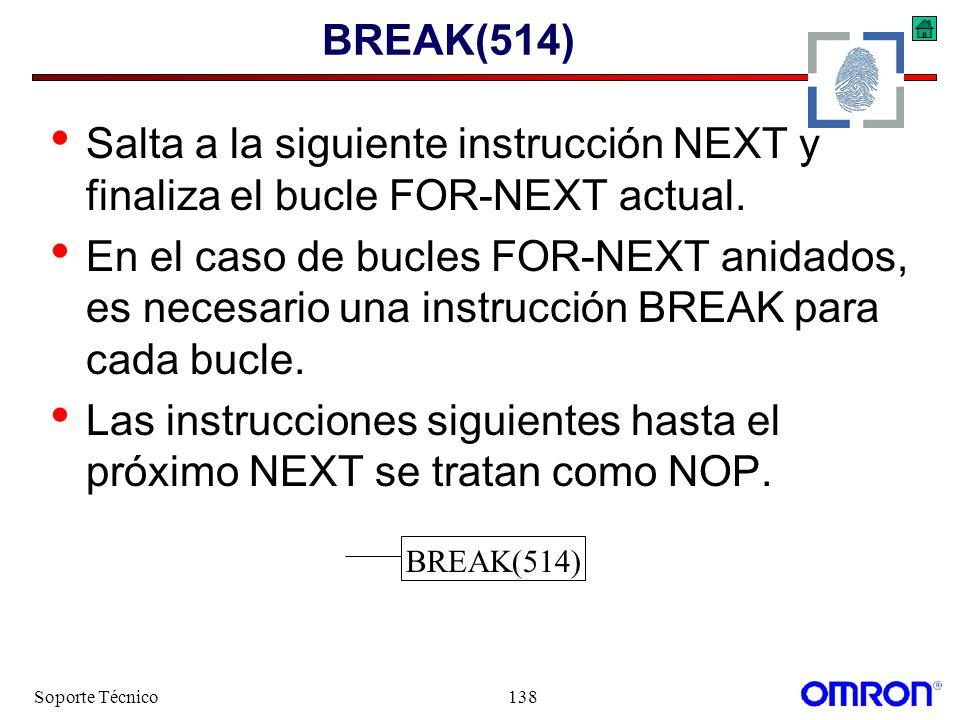 Soporte Técnico138 BREAK(514) Salta a la siguiente instrucción NEXT y finaliza el bucle FOR-NEXT actual. En el caso de bucles FOR-NEXT anidados, es ne
