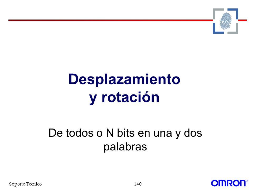 Soporte Técnico140 Desplazamiento y rotación De todos o N bits en una y dos palabras