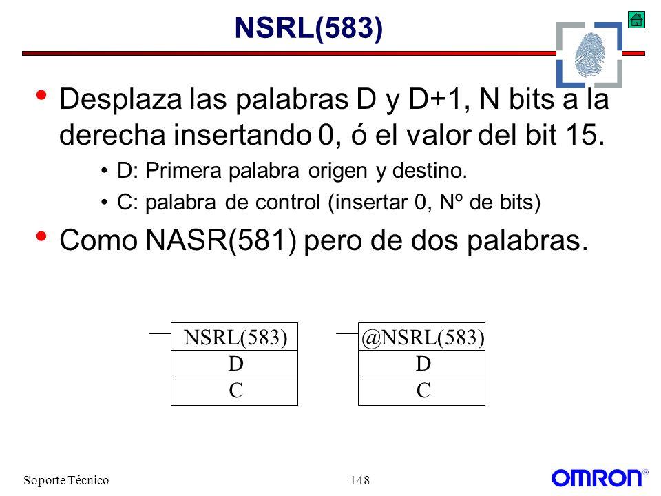 Soporte Técnico148 NSRL(583) Desplaza las palabras D y D+1, N bits a la derecha insertando 0, ó el valor del bit 15. D: Primera palabra origen y desti